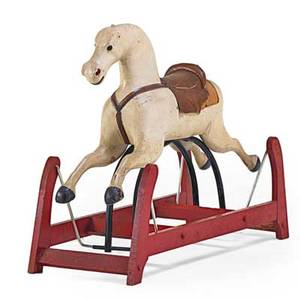 American painted childs rocking horse with saddle 19th c 31 x 42 x 16 12