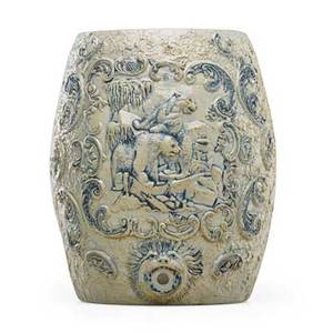 American stoneware ice water cooler polar bear decoration in relief with flower decoration probably whites utica late 19th c 15 x 12