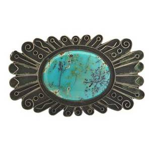 Fred peshlakai jewelry silver and turquoise brooch mid 20th c marked 1 12 x 2 12