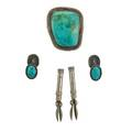 Fred peshlakai jewelry silver and turquoise bolo and cufflinks 20th c all marked bolo 1 34 x 1 12
