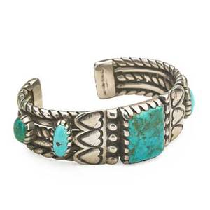 Navajo bracelet silver and turquoise wire twist cuff with heart decoration early 20th c unmarked 2 x 3 x 34