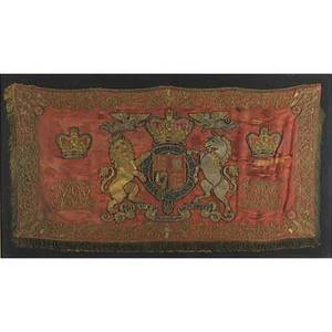 English royal coat of arms tapestry early 19th c framed 26