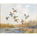 Roland h clark american 18741957 oil on board of ducks in flight framed signed 16 x 20