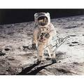 Buzz aldrin autographed large format photograph commemorating the 25th anniversary of the apollo 11 lunar landing framed 15 x 19 sight