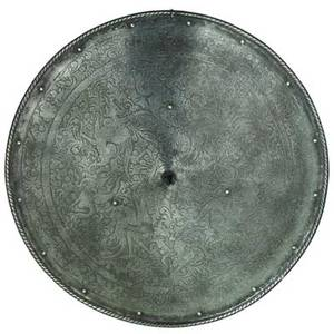 Continental spiked shield engraved bird and floral motif german or italian 19th c 21 dia