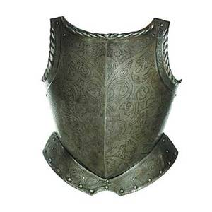 Italian breastplate engraved scrollwork with central medallion depicting a soldier 16th17th c 19 x 14 x 7