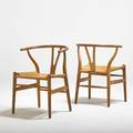 Hans wegner carl hansen pair of wishbone chairs denmark 1960s oak and woven paper cord branded each 28 12 x 21 x 19