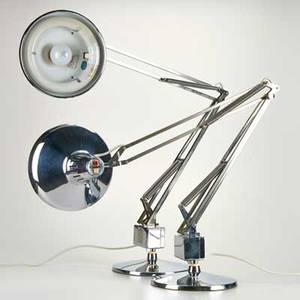 Luxo pair of chrome adjustable desklamps norway 20th c unmarked each 45 12 x 9 12 dia