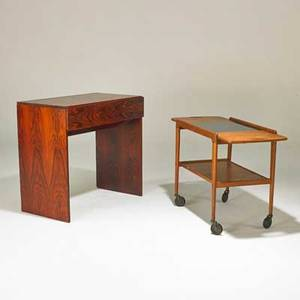 Danish vanity and cart 1960s rosewood teak laminate brass vanity is inkstamped on back vanity 29 x 32 x 18