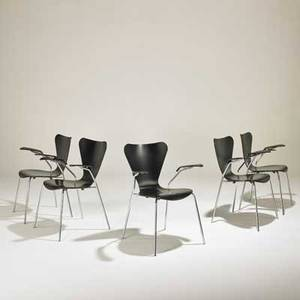 After arne jacobsen five sevner armchairs 2000s ebonized wood chromed steel one with made in italy label 32 x 24 12 x 20