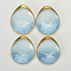 Bing  grondahl four seagull oyster plates denmark 1940s  1950s gilded porcelain designed by fanny garde all marked bg kjobenhavn  made in denmark  200 all 12 x 3 x 3 12