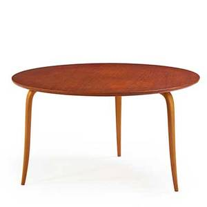 Bruno mathsson karl mathsson occasional table sweden 1950s teak and laminated birch branded mark 23 x 41 14 dia