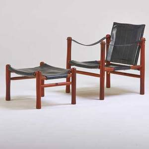 Danish lounge chair and ottoman 1960s teak and saddle leather unmarked chair 30 x 24 12 x 24 12 ottoman 15 x 24 x 19 12