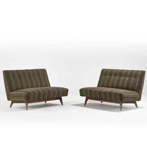 Jens risom jens risom design pair of settees usa 1950s upholstery walnut unmarked each 30 12 x 46 12 x 33
