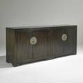 Baker far east fourdoor cabinet usa 1960s stained and lacquered walnut nickeled brass metal label 34 x 79 12 x 18