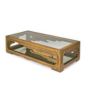 James mont coffee table new york 1960s antiqued gold leaf wood glass mirrored glass unmarked 14 x 55 x 27