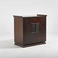 James mont  stromberg carlson stereo cabinet in stained and lacquered mahogany finish with chinesemotif embossed panels fitted with stromberg carlson stereo stromberg carlson metal tag 35 x 39