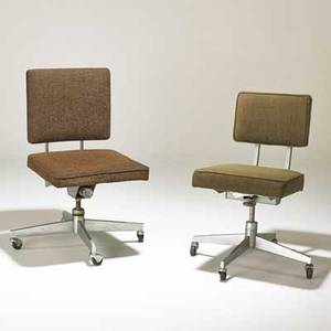 Steelcase royal metal two swivel chairs usa 1960s matte chrome steel upholstery casters upholstery labels 36 x 20 x 22