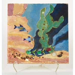 Marianna von allesch germanamerican 20th c mixed media underwater scene usa 1938 paint glass and shells on composite signed and dated on verso 12 x 12 x 1
