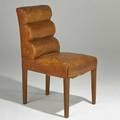 Style of jean michel frank side chair france 1930s leather mahogany unmarked 36 x 19 x 24