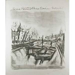 Jane freilicher etc american b 1924 offset lithograph of boats on the seine for the paris review signed and numbered 21150 along with ernest trova american 19272009 screenprint for pac