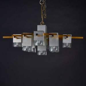 Lightolier eightlight chandelier 20th c brass glass plastic unmarked 11 14 x 31 x 31
