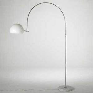 Robert sonneman floor lamp usa 1970s chromed steel marble and plastic unmarked as shown 78 x 59 x 13
