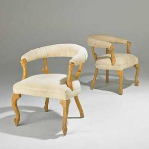 Designer pair of armchairs usa 1980s carved wood upholstery unmarked each 32 x 26 12 x 28 12