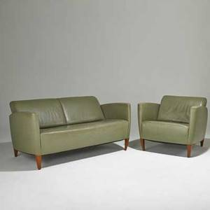 Kenneth winslow love seat and club chair usa 1980s90s leather cherry metal label sofa 31 x 65 x 35 chair 31 x 36 x 35