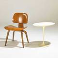 Charles and ray eames eero saarinen dining chair and tulip side table usa 1950s walnut plasticcoated metal laminate side table marked chair 21 12 x 29 x 19 12 table 20 12 x 22 12