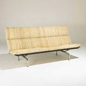 Charles and ray eames herman miller compact sofa usa 1960s enameled and chromed steel upholstery unmarked 34 x 73 x 29