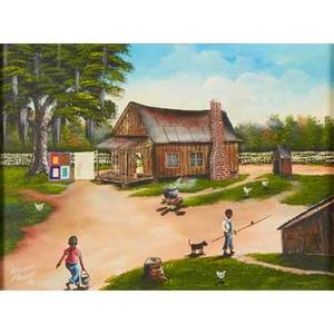 Edward bledsoe american 20th c oil on canvas of a southern homestead1990 signed and dated together with oil on canvas of four young girls in pink dresses signed cathout both framed larger