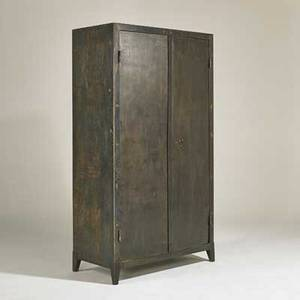 Industrial twodoor cabinet usa 20th c painted and patinated steel unmarked 71 x 39 12 x 20