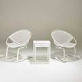 Salterini pair of cantilevered lounge chairs and nesting tables usa 1950s painted iron unmarked chair 32 x 30 x 25 table 20 12 x 18 12 x 14
