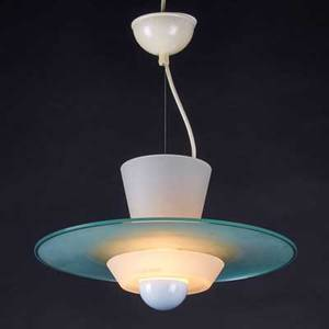 Modern lighting hanging fixture usa 20th c frosted glass painted metal unmarked 13 x 20 dia fixture