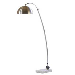 Arc floor lamp 1960s chromed steel brushed aluminum marble enameled steel unmarked 65 x 40 x 14