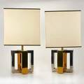 Modern lighting pair of table lamps with original shades 20th c brass chromed metal linen unmarked 25 14 x 13 34 x 13 34