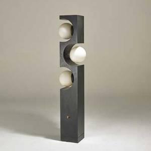 Laurel lamp co floor lamp newark nj 1960s frosted glass aluminum ebonized wood unmarked 60 x 11 x 9