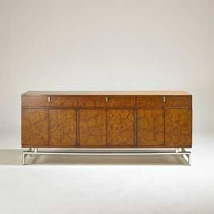 White furniture company cabinet usa 1960s walnut maple burl polished aluminum branded 32 x 76 x 19 34