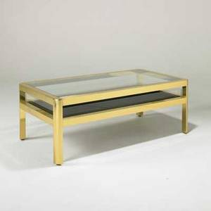 Karl springer coffee table usa 1980s polished brass glass acrylic and felt unmarked 19 x 52 x 28 12