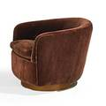 Milo baughman thayer coggin swivel lounge chair usa 1960s upholstery walnut and ebonized wood labeled 26 x 29 x 32