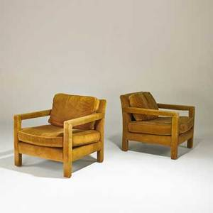 Milo baughman thayer coggin pair of openarm lounge chairs usa 1970s upholstery unmarked 29 x 29 12 x 34 12