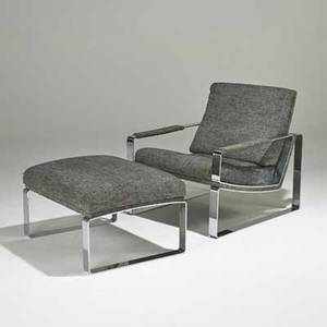 Style of milo baughman lounge chair and ottoman usa 1970s chromed steel upholstery tulip inc upholstery labels chair 28 12 x 26 x 31 12 ottoman 16 x 26 x 22