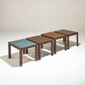 Phillip enfield four nesting tables new york 1960s walnut mosaic glass tile larger pair 14 x 20 x 15 smaller pair 13 14 x 20 x 15 provenance collection of elizabeth enfield