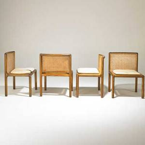 Phillip enfield set of four side chairs new york 1960s stained oak woven wicker upholstery unmarked 32 x 24 x 23 provenance collection of elizabeth enfield