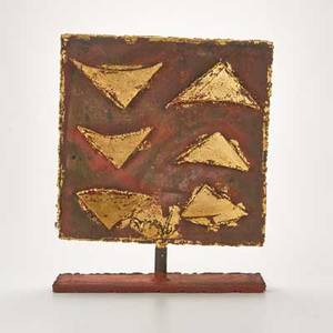 Mathias goeritz germanmexican 19151990 metal sculpture of pivoting square panel decorated with gold triangles mounted on a rectangular base mid to late20th c initialed mg 17 12 x 14 1
