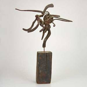 Bernard brenner american 19272004 sculpture usa dance of the astrologer forged steel on wooden base unmarked 29 12 provenance artists family