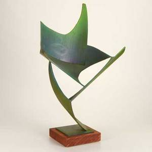 James bearden american b1964 steel sculpture with acid patina from the cavernous voids series on wooden base 29 x 18 x 13 12