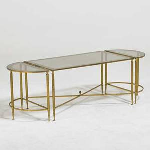 La barge coffee table and matching demi lune side tables france 1960s brass mirrored glass unmarked coffee table 17 x 33 12 x 19 side tables 17 x 19 x 9 14