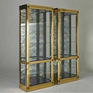 Mastercraft pair of illuminated vitrines usa 1980s brass glass antiqued mirror and lacquered wood metal labels each 84 12 x 33 12 x 16
